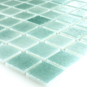 Glass Swimming Pool Mosaic 25x25x4mm Cyan Mix