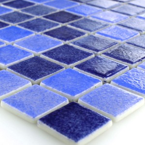 Glass Swimming Pool Mosaic 25x25x4mm Blue Mix