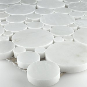 SAMPLE Mosaic Tiles Marble Round Round White Polished