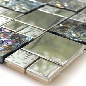 Mosaic Tiles Glass Stainless Steel Metal Agypt Silver