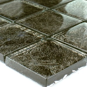 Mosaic Tiles Glass 48x48x8mm Black Gold Metal