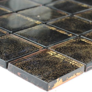 Mosaic Tiles Glass 48x48x8mm Brown Gold Metal