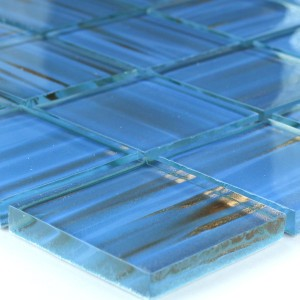 Mosaic Tiles Glass 48x48x8mm Light Blue Gold Metal