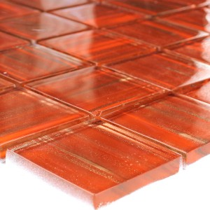 Mosaic Tiles Glass 48x48x8mm Orange Gold Metal