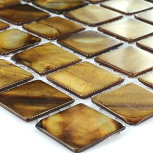 Mosaic Tiles Glass Nacre Effect 25x25x2mm Brown