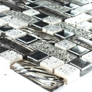 Mosaic Tiles Glass Metal Quartz Composite Silver