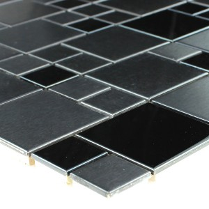 Mosaic Tiles Stainless Steel Metal Black Grey