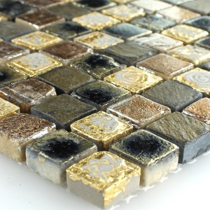 Limestone Marble Mosaic Gold Brown 15x15x8mm