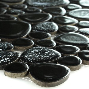 Mosaic Tiles Ceramic Pebble Black