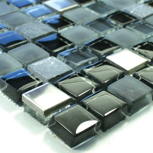 Mosaic Tiles Glass Marble Stainless Steel Black Mix