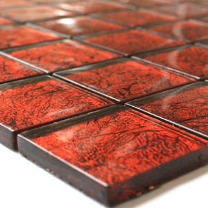 SAMPLE Mosaic Tiles Glass 48x48x8mm Red Metal