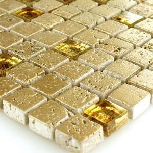 Mosaic Tiles Glass Marble Gold 15x15x8mm
