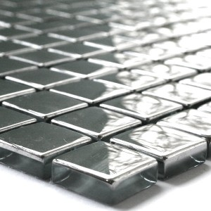 SAMPLE Mosaic Tiles Glass 23x23x8mm Silver Uni