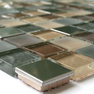 Mosaic Tiles Glass Stainless Steel Metal Brown Silver