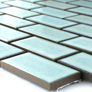 Mosaic Tiles Ceramic 22x47x6mm Cyan Glossy Uni