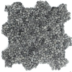 Mosaic Tiles River Pebbles Black Mini