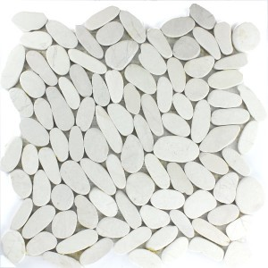 Mosaic Tiles Pebble White Serrated