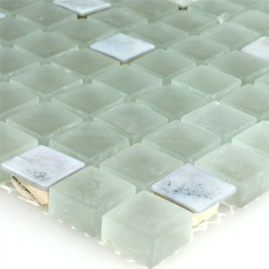 SAMPLE Mosaic Tiles Nacre Glass Marble Paleturquoise
