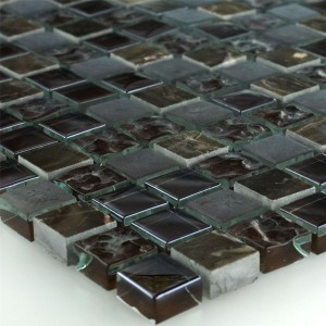 Mosaic Tiles Glass Marble Sintra Brown 15x15x8mm