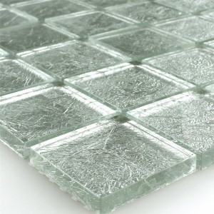 Mosaic Tiles Glass 48x48x8mm Silver Metal Hell