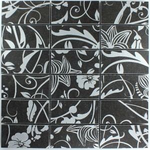 Mosaic Tiles Teros Ornament Flower Black
