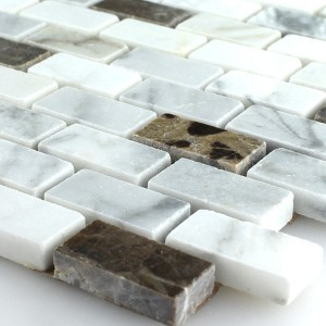 Mosaic Tiles Marble Brown White Polished 15x30x7mm