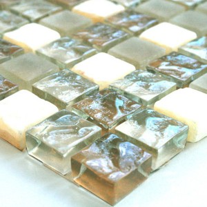 Mosaic Tiles Glass Marble 15x15x8mm Beige Mix Onyx