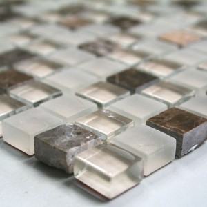 Mosaic Tiles Glass Marble 15x15x8mm Brown Polished