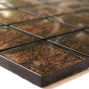 Mosaic Tiles Glass 48x48x8mm Brown Metal