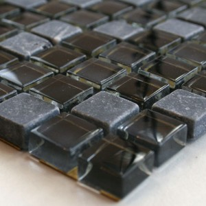 Mosaic Tiles Glass Marble 15x15x8mm Black Mix