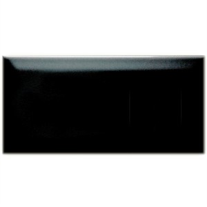 Metro Wall Tiles Facet Black Glossy 10x20cm
