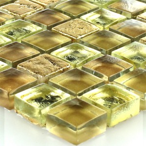 Mosaic Tiles Glass Natural Stone Gold