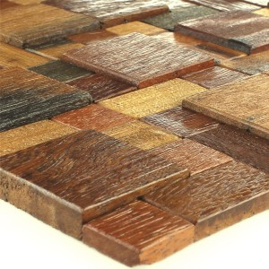 Wood Mosaic Tiles Real Brown Mix Lacquered