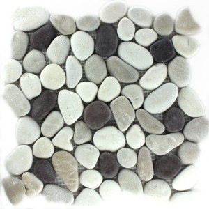 Mosaic Tiles River Pebbles White Beige Pink