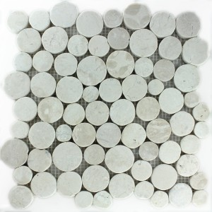 Mosaic Tiles River Pebbles Coin Round White