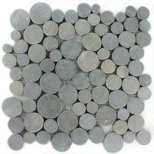 Mosaic Tiles River Pebbles Coin Round Dark Grey