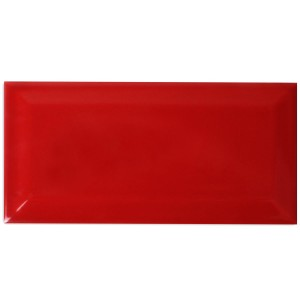 Metro Wall Tiles Facet Red Glossy 10x20cm