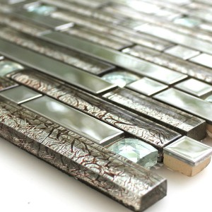 Mosaic Tiles Glass Stainless Steel Diamond