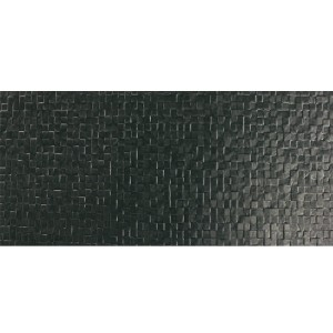 Wall Tiles Waffel Black Decor Glossy 24x69cm
