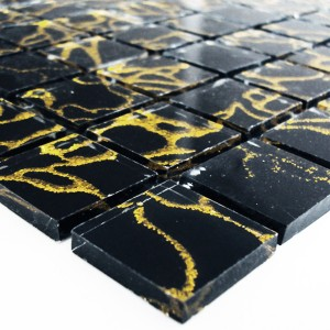 Mosaic Tiles Glass 25x25x4mm Tempel Black