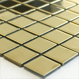 Mosaic Tiles Glass Gold Uni 25x25x4mm
