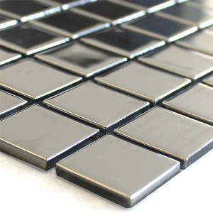 Mosaic Tiles Glass Silver Uni 25x25x4mm