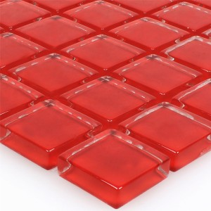 Mosaic Tiles Glass Red Uni
