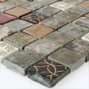 Mosaic Tiles Glass Natural Stone Mix 23x23x8mm