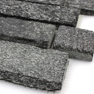Mosaic Tiles Natural Stone Quartzite Brick Black