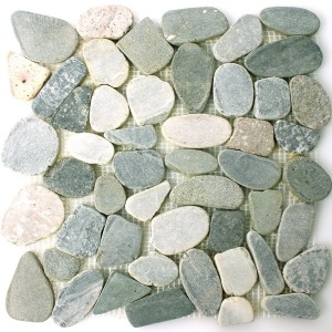 Mosaic Tiles River Pebbles Cut Grey Beige White