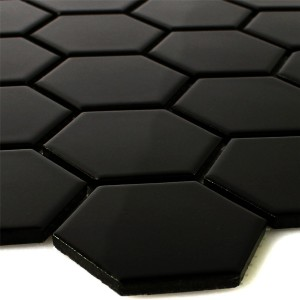 Mosaic Tiles Ceramic Hexagon Black Glossy
