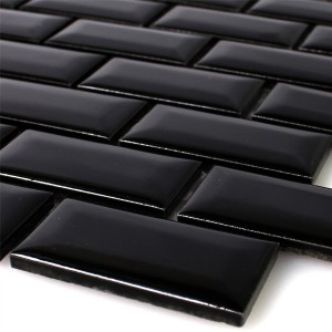 Mosaic Tiles Ceramic Metro Facet Black Glossy