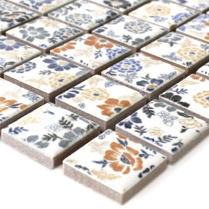 Mosaic Tiles Ceramic White Flower