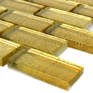 Mosaic Tiles Glass Gold 23x48x8mm